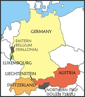German Language German Culture Learn German Speak German - Germany map cartoon
